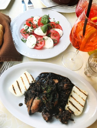 Nero di seppie: cuttlefish in its ink, with grilled polenta