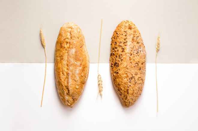 two baked breads
